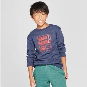 "Cat & Jack- ""Beast Mode"" Pullover Sweatshirt 12/14"